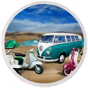 Splitty Vw Beetle And Scooters Round Beach Towel