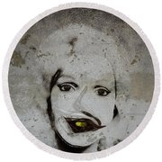 Spoiled Portrait In The Wall Round Beach Towel