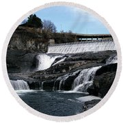 Spokane Falls At Low Tide Round Beach Towel