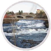 Spokane Falls In Winter Round Beach Towel