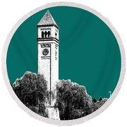 Spokane Skyline Clock Tower - Sea Green Round Beach Towel