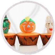 Spooks Cup Cakes On White Background Round Beach Towel