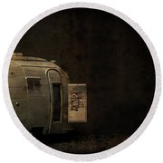 Spooky Airstream Campsite Round Beach Towel
