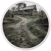 Spooky Apple Orchard Round Beach Towel