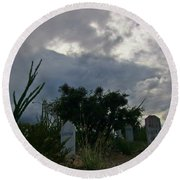 Spooky Boot Hill Cemetery Round Beach Towel