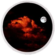 Spooky Clouds With Glowing Moon Round Beach Towel