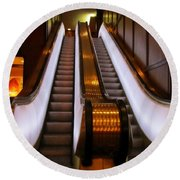 Spooky Escalator At The Brown Palace In Denver Round Beach Towel