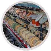 Spools At Lonaconing Silk Mill Round Beach Towel