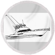 Sport Fishing Yacht Round Beach Towel by Jack Pumphrey