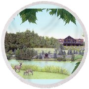 Sporting Clays At Seven Springs Mountain Resort Round Beach Towel