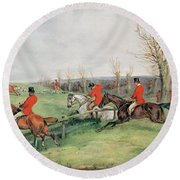 Sporting Scene, 19th Century Round Beach Towel