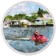 Sports - Man On Jet Ski Round Beach Towel