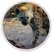Spotted Hyena Round Beach Towel