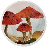 Spotted Mushrooms Round Beach Towel