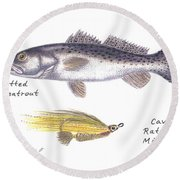 Spotted Seatrout And Rattlin' Minnow Fly Round Beach Towel