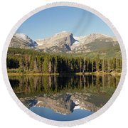 Sprague Lake In Rocky Mountain National Park Round Beach Towel