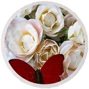Spray Roses And Red Butterfly Round Beach Towel