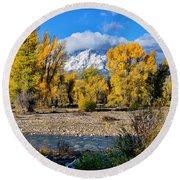 Spread Creek Grand Teton National Park Round Beach Towel