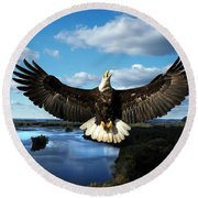 Spread Eagle  Mississippi River Round Beach Towel