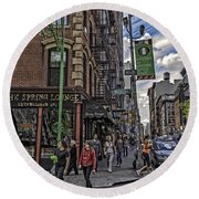 Spring And Mulberry - Street Scene - Nyc Round Beach Towel by Madeline Ellis