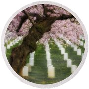 Spring Arives At Arlington National Cemetery Round Beach Towel by Susan Candelario