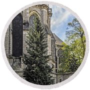 Spring At Chartres Round Beach Towel