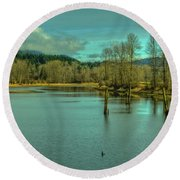 Spring At The Nicomen Slough Round Beach Towel