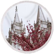 Spring At The Temple Round Beach Towel
