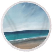 Spring Beach- Contemporary Abstract Landscape Round Beach Towel