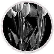 Spring Beauties Bw Round Beach Towel