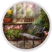 Spring - Bench - A Place To Retire  Round Beach Towel by Mike Savad