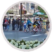Spring Bike Event From New York To New Jersey Round Beach Towel