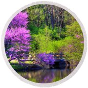 Spring Blossoms On Lake Marmo Round Beach Towel