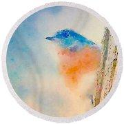 Spring Blues - Digital Watercolor Round Beach Towel