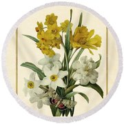 Spring Bouquet Of Daffodils And Narcissus With Butterfly Vertical Round Beach Towel