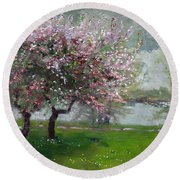 Spring By The River Round Beach Towel