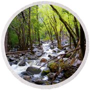 Spring Cascade Of Water From Bridal Veil Falls In Yosemite Np-2013 Round Beach Towel