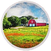 Spring Charm In The Hill Country Round Beach Towel