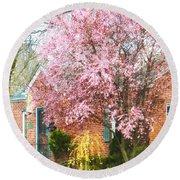 Spring - Cherry Tree By Brick House Round Beach Towel