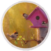 Spring Chickadees 1 - Birdhouse And Birch Forest Round Beach Towel