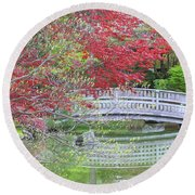 Spring Color Over Japanese Garden Bridge Round Beach Towel