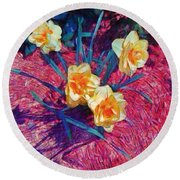 Spring Daffodils On Red - Horizontal Round Beach Towel