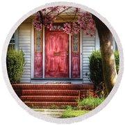 Spring - Door - Westfield Nj - Pink Round Beach Towel by Mike Savad