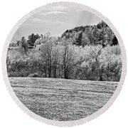 Spring Farm Landscape With Dandelions In Maine Round Beach Towel