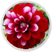Red Spring Flower Round Beach Towel