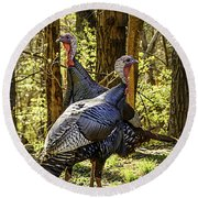 Spring Gobblers Round Beach Towel