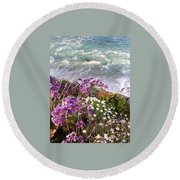 Spring Greets Waves Round Beach Towel