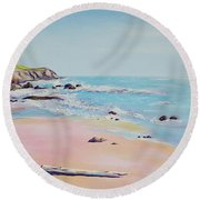 Spring Hills And Seashore At Bowling Ball Beach Round Beach Towel