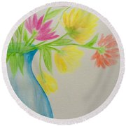 Spring In A Vase Round Beach Towel