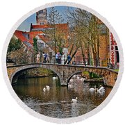 Spring In Bruges Round Beach Towel